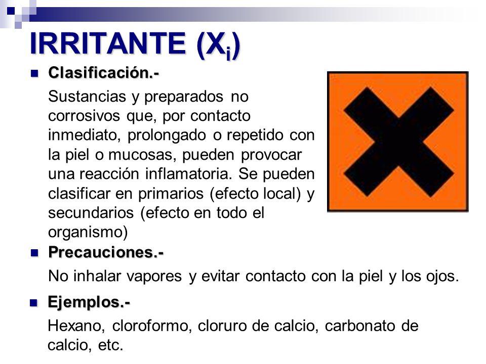 IRRITANTE (X i ) Precauciones.- Precauciones.- No inhalar vapores y evitar contacto con la piel y los ojos. Ejemplos.- Ejemplos.- Hexano, cloroformo,
