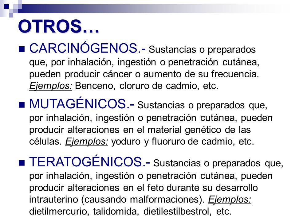 CARCINÓGENOS.- Sustancias o preparados que, por inhalación, ingestión o penetración cutánea, pueden producir cáncer o aumento de su frecuencia. Ejempl