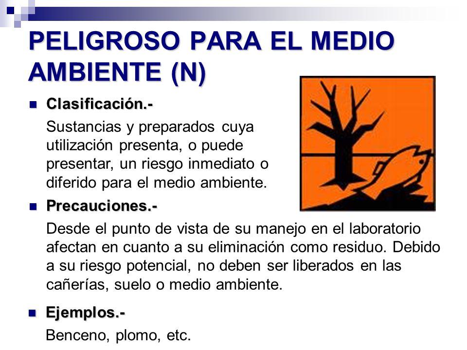 PELIGROSO PARA EL MEDIO AMBIENTE (N) Precauciones.- Precauciones.- Desde el punto de vista de su manejo en el laboratorio afectan en cuanto a su elimi