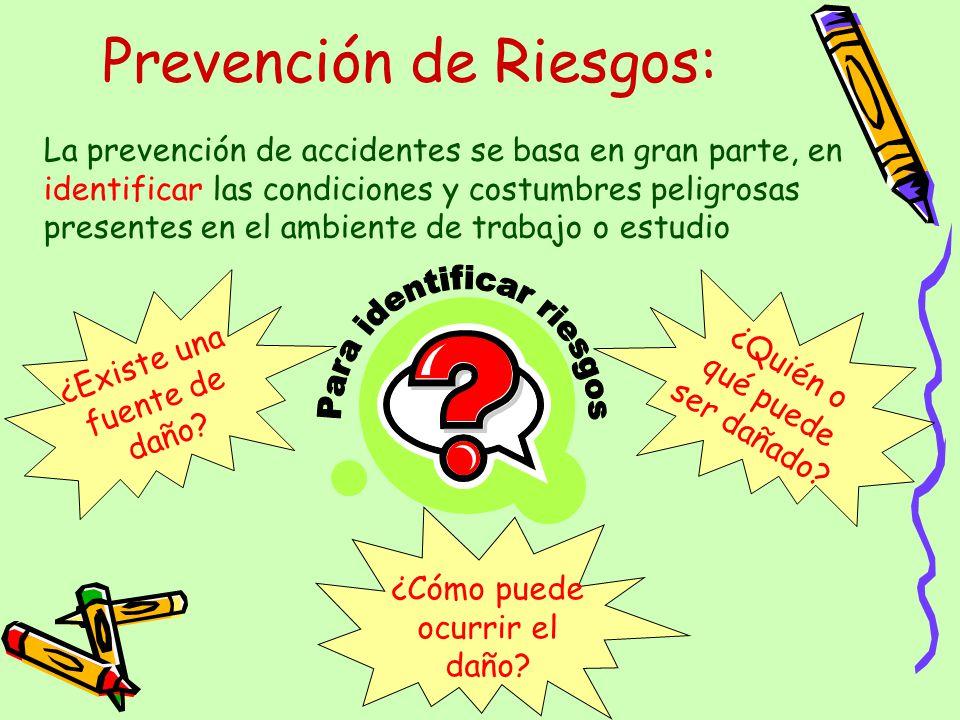 Prevención de Riesgos: La prevención de accidentes se basa en gran parte, en identificar las condiciones y costumbres peligrosas presentes en el ambie