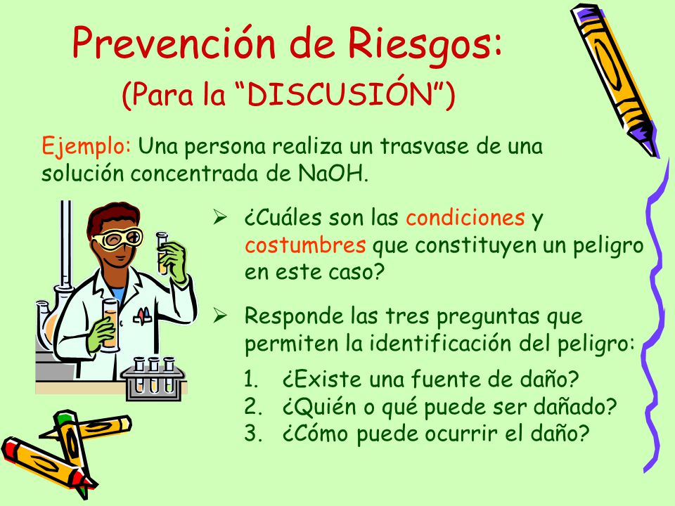 Prevención de Riesgos: Ejemplo: Una persona realiza un trasvase de una solución concentrada de NaOH. ¿Cuáles son las condiciones y costumbres que cons