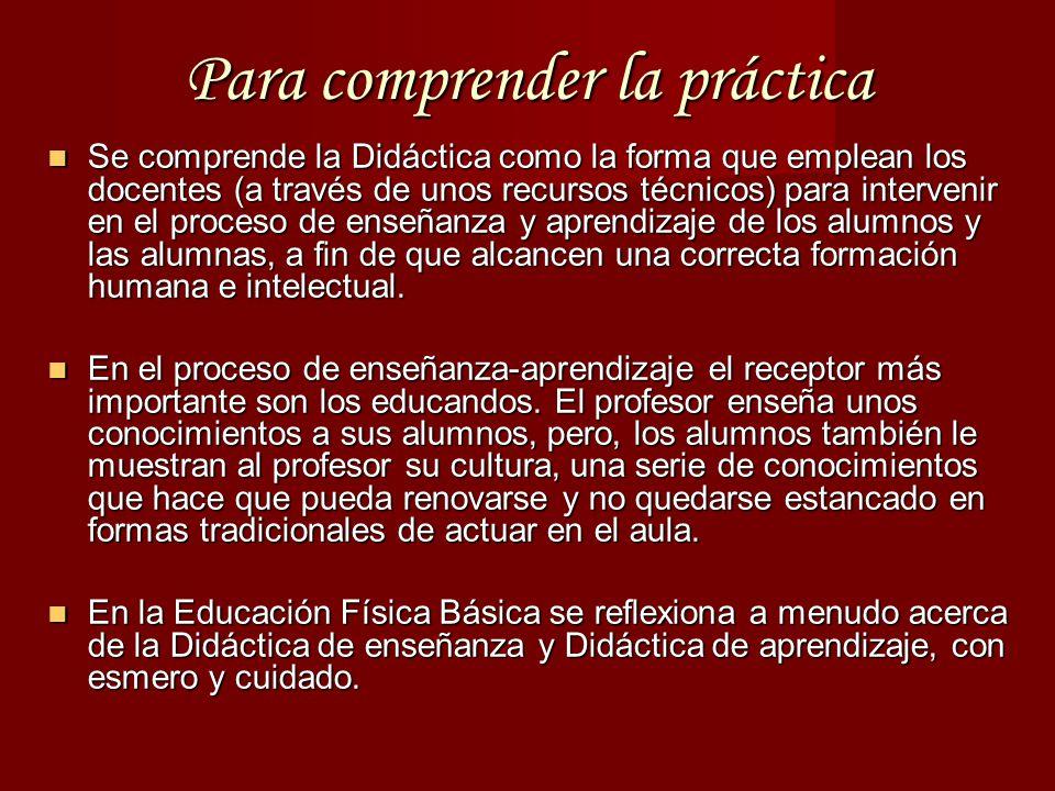 Para comprender la práctica Se comprende la Didáctica como la forma que emplean los docentes (a través de unos recursos técnicos) para intervenir en el proceso de enseñanza y aprendizaje de los alumnos y las alumnas, a fin de que alcancen una correcta formación humana e intelectual.