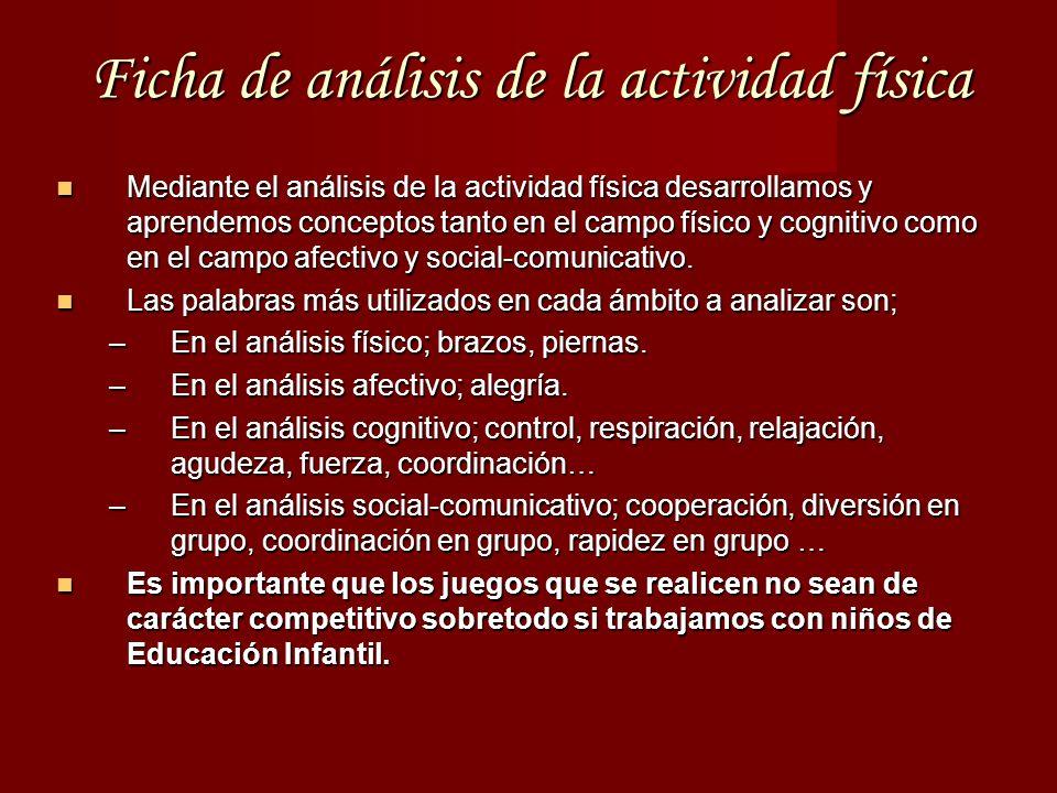 Ficha de análisis de la actividad física Mediante el análisis de la actividad física desarrollamos y aprendemos conceptos tanto en el campo físico y cognitivo como en el campo afectivo y social-comunicativo.