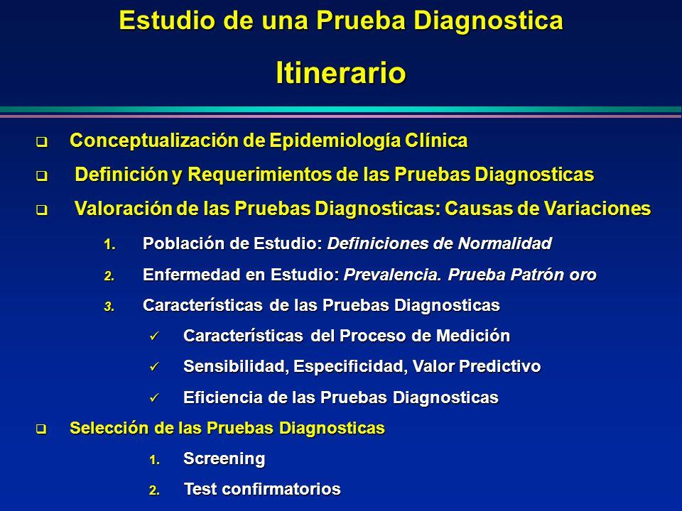 Estudio de una Prueba Diagnostica Itinerario Conceptualización de Epidemiología Clínica Conceptualización de Epidemiología Clínica Definición y Requer