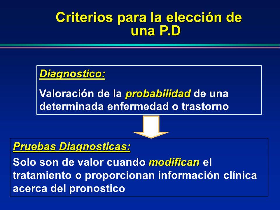 Pruebas Diagnosticas: modifican Solo son de valor cuando modifican el tratamiento o proporcionan información clínica acerca del pronostico Diagnostico