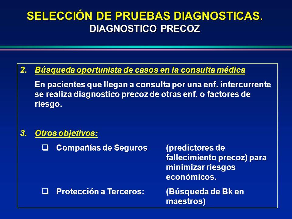 2.Búsqueda oportunista de casos en la consulta médica En pacientes que llegan a consulta por una enf. intercurrente se realiza diagnostico precoz de o