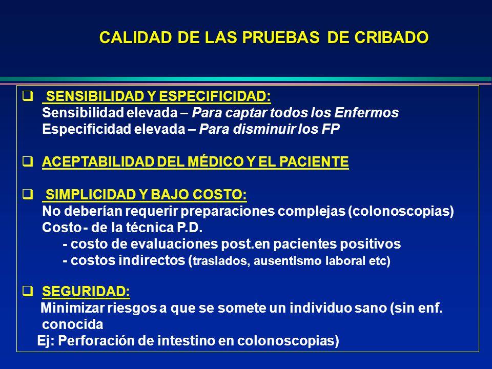 CALIDAD DE LAS PRUEBAS DE CRIBADO SENSIBILIDAD Y ESPECIFICIDAD: Sensibilidad elevada – Para captar todos los Enfermos Especificidad elevada – Para dis