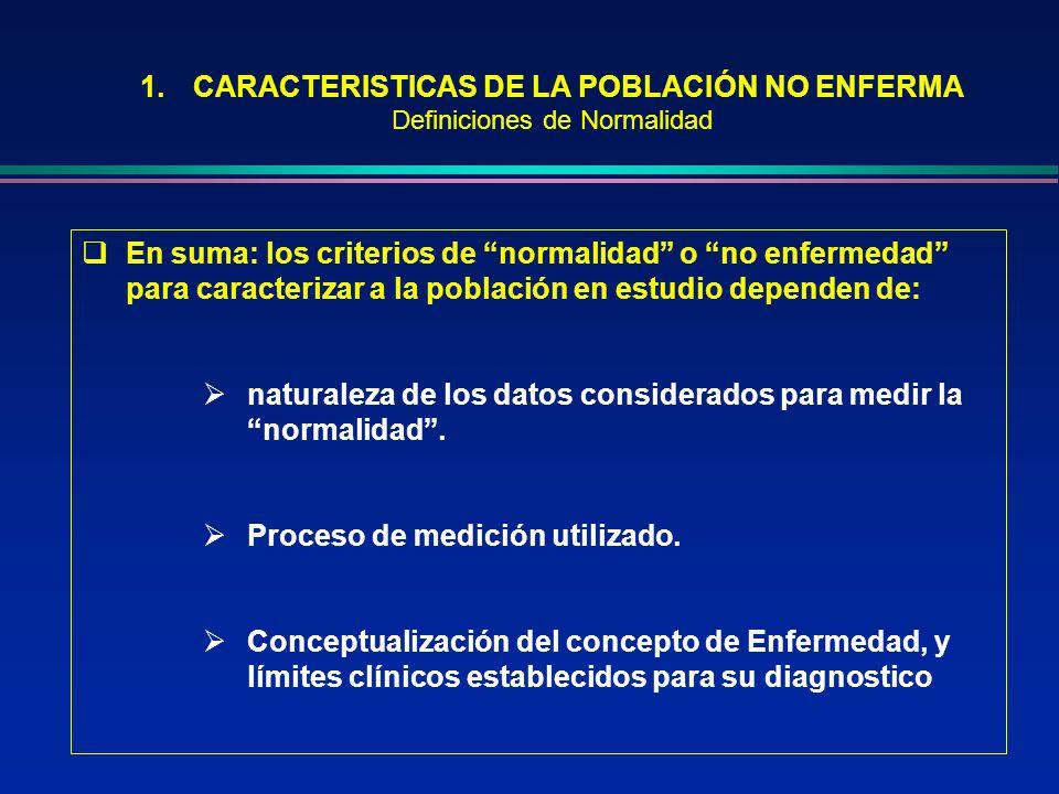 1.CARACTERISTICAS DE LA POBLACIÓN NO ENFERMA Definiciones de Normalidad En suma: los criterios de normalidad o no enfermedad para caracterizar a la po