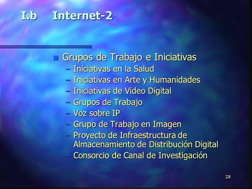 27 n Aplicaciones Avanzadas –Tele-inmersión –Laboratorios Virtuales y Entornos Cooperativos –Bibliotecas Digitales –Instrucción Distribuida o Software