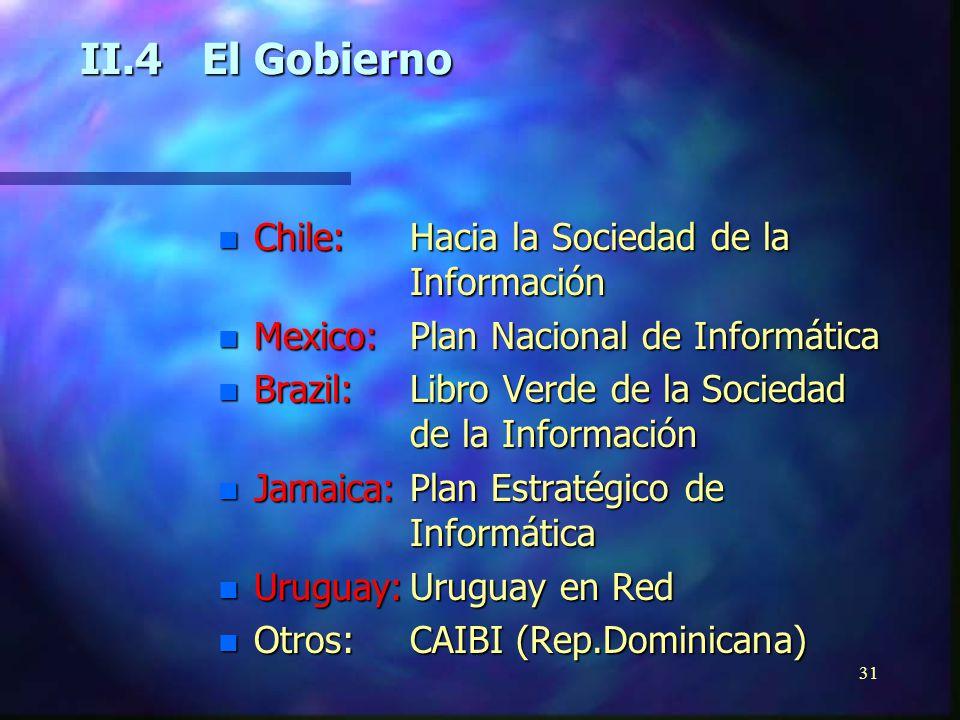 30 II.3Las Ciencias de la Información y la Sociedad de la Información n Falta de información n Experiencias relevantes n Biblioteca Virtual em Saúde -