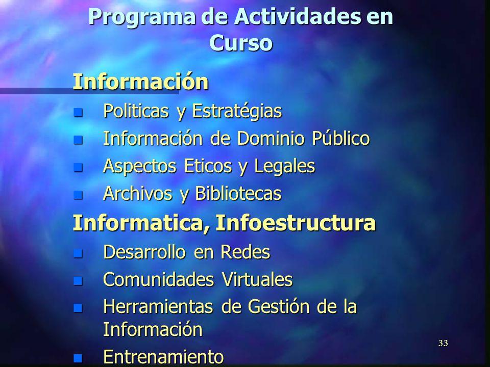 32 O r i g e n n Programa General de Información (PGI, Ciencias de la Información) n Programa Intergubernamental de Informática (PII, Tecnología de la Información) III.El papel de la UNESCO: Actividades de Programa