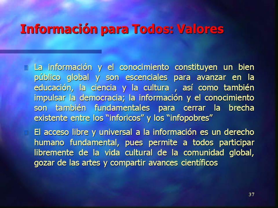 36 3 El Programa de Información para Todos tiene por objetivo asegurar que todos tengan acceso a la información necesaria para participar de forma equ