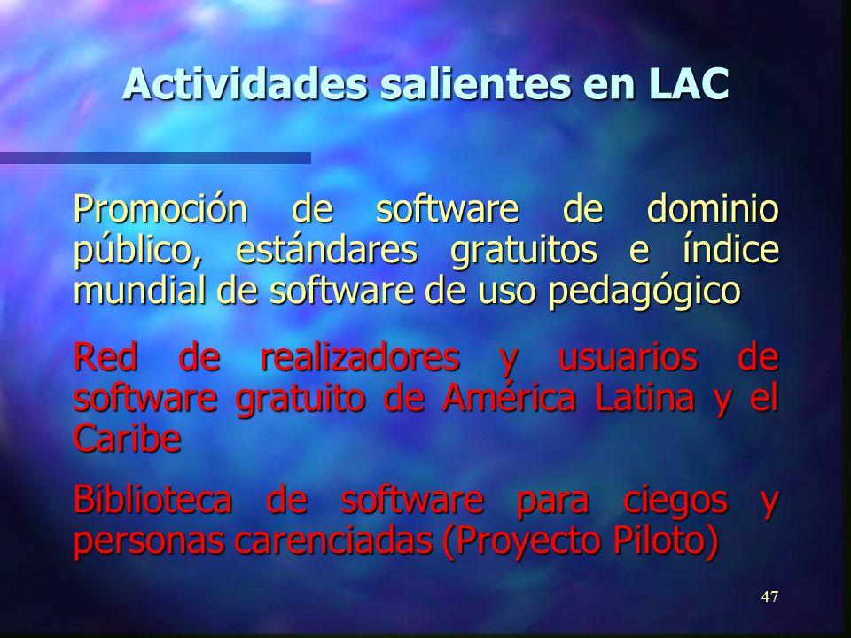 46 Difusión de documentos electrónicos existentes en bibliotecas mundiales y archivos ETD-Net (Tesis de Maestría y Doctorado) Mecanismo de Intercambio de Tesis en América Latina y el Caribe Escuela del Futuro, biblioteca virtual Actividades salientes en LAC