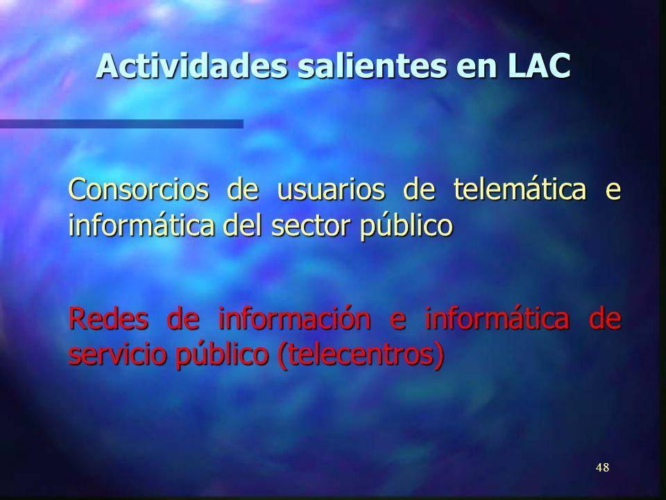 47 Promoción de software de dominio público, estándares gratuitos e índice mundial de software de uso pedagógico Red de realizadores y usuarios de software gratuito de América Latina y el Caribe Biblioteca de software para ciegos y personas carenciadas (Proyecto Piloto) Actividades salientes en LAC