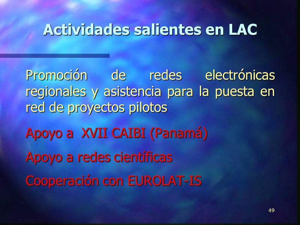 48 Consorcios de usuarios de telemática e informática del sector público Redes de información e informática de servicio público (telecentros) Activida