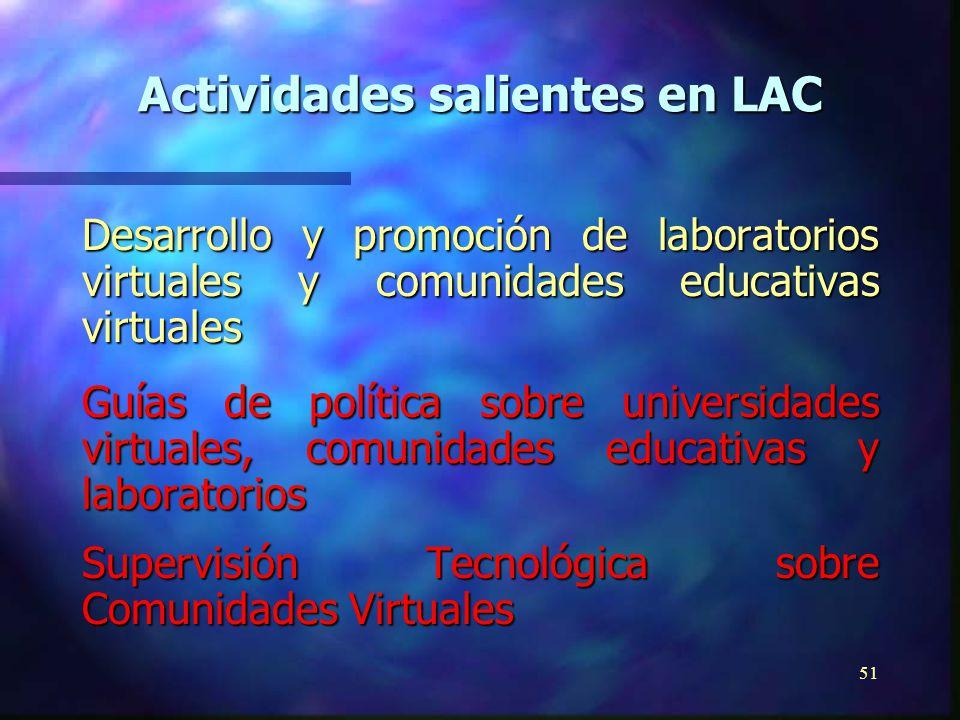 50 Promoción de la misión educativa y cultural de los medios electrónicos Establecimiento de comunidades educativas virtuales a través de televisión pública y universitaria Establecimiento de clearing-house latinoamericana de televisión educativa y cultural Actividades salientes en LAC