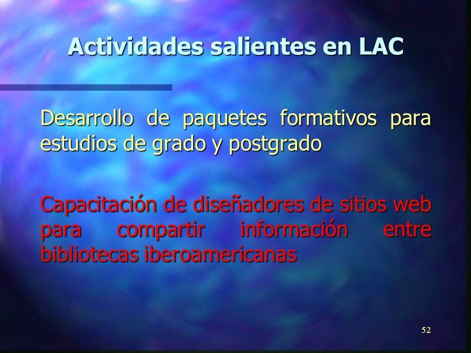 51 Desarrollo y promoción de laboratorios virtuales y comunidades educativas virtuales Guías de política sobre universidades virtuales, comunidades educativas y laboratorios Supervisión Tecnológica sobre Comunidades Virtuales Actividades salientes en LAC