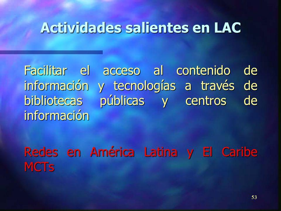 52 Desarrollo de paquetes formativos para estudios de grado y postgrado Capacitación de diseñadores de sitios web para compartir información entre bibliotecas iberoamericanas Actividades salientes en LAC