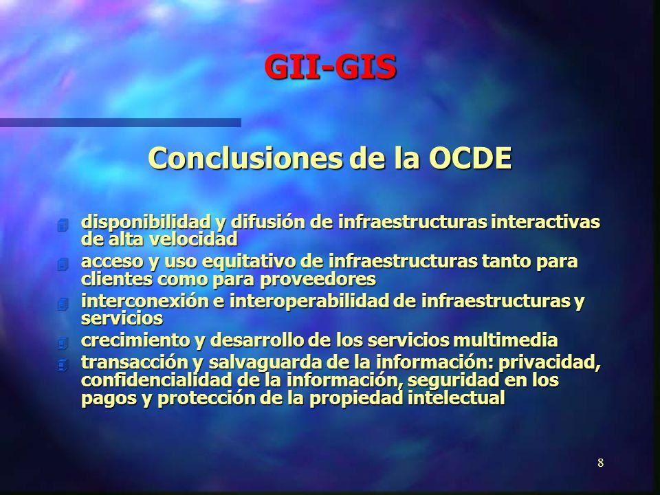 7 Infraestructura de la Información Global (GII) Sociedad de la Información Global (GIS) Concepto Desarrollo e integración de redes de comunicación de alta velocidad y conjunto de servicios y aplicaciones en formato digital ubicados dentro de redes globales integradas capaces de liberar información de un solo impulso.