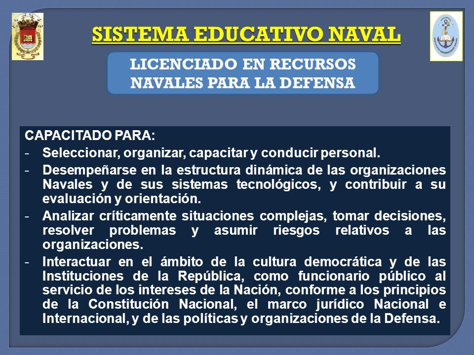 CAPACITADO PARA: -Seleccionar, organizar, capacitar y conducir personal. -Desempeñarse en la estructura dinámica de las organizaciones Navales y de su