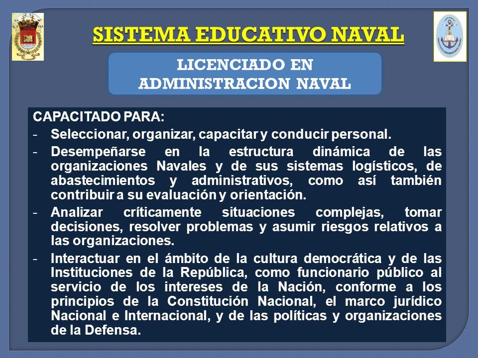 SISTEMA EDUCATIVO NAVAL LICENCIADO EN ADMINISTRACION NAVAL CAPACITADO PARA: -Seleccionar, organizar, capacitar y conducir personal. -Desempeñarse en l