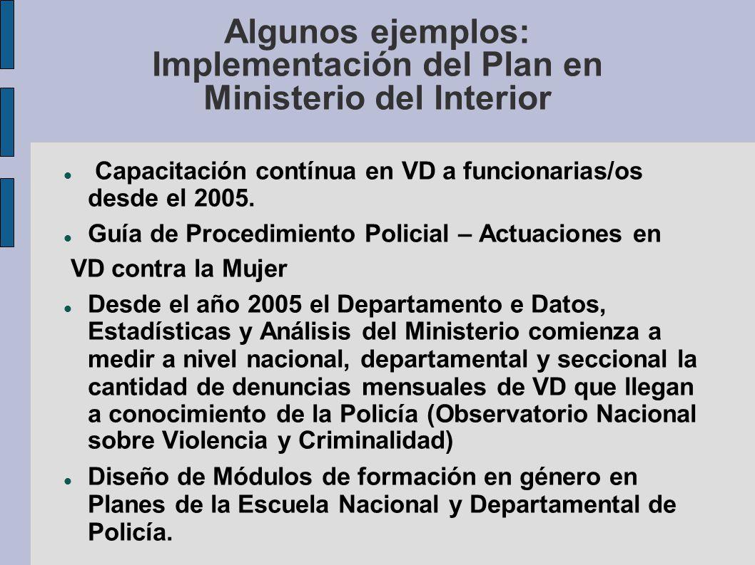 Algunos ejemplos: Implementación del Plan en Ministerio del Interior Capacitación contínua en VD a funcionarias/os desde el 2005. Guía de Procedimient