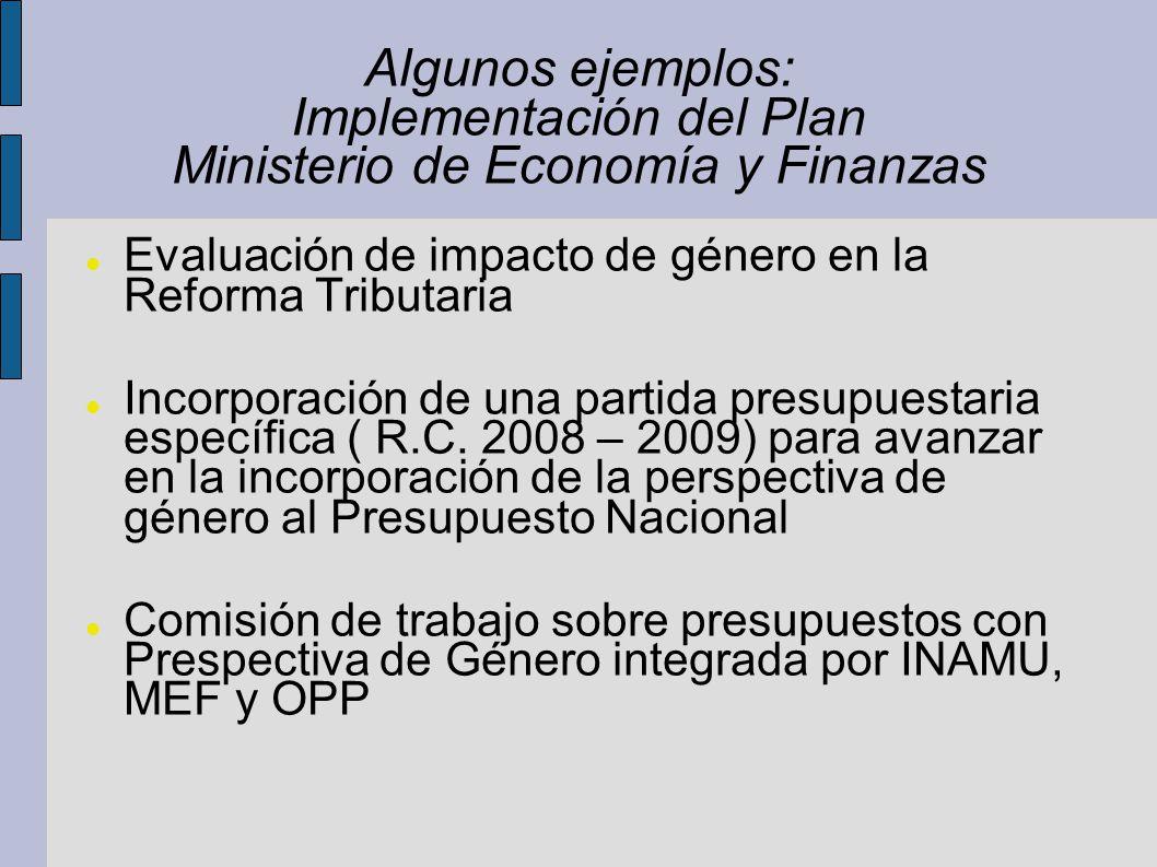 Algunos ejemplos: Implementación del Plan Ministerio de Economía y Finanzas Evaluación de impacto de género en la Reforma Tributaria Incorporación de