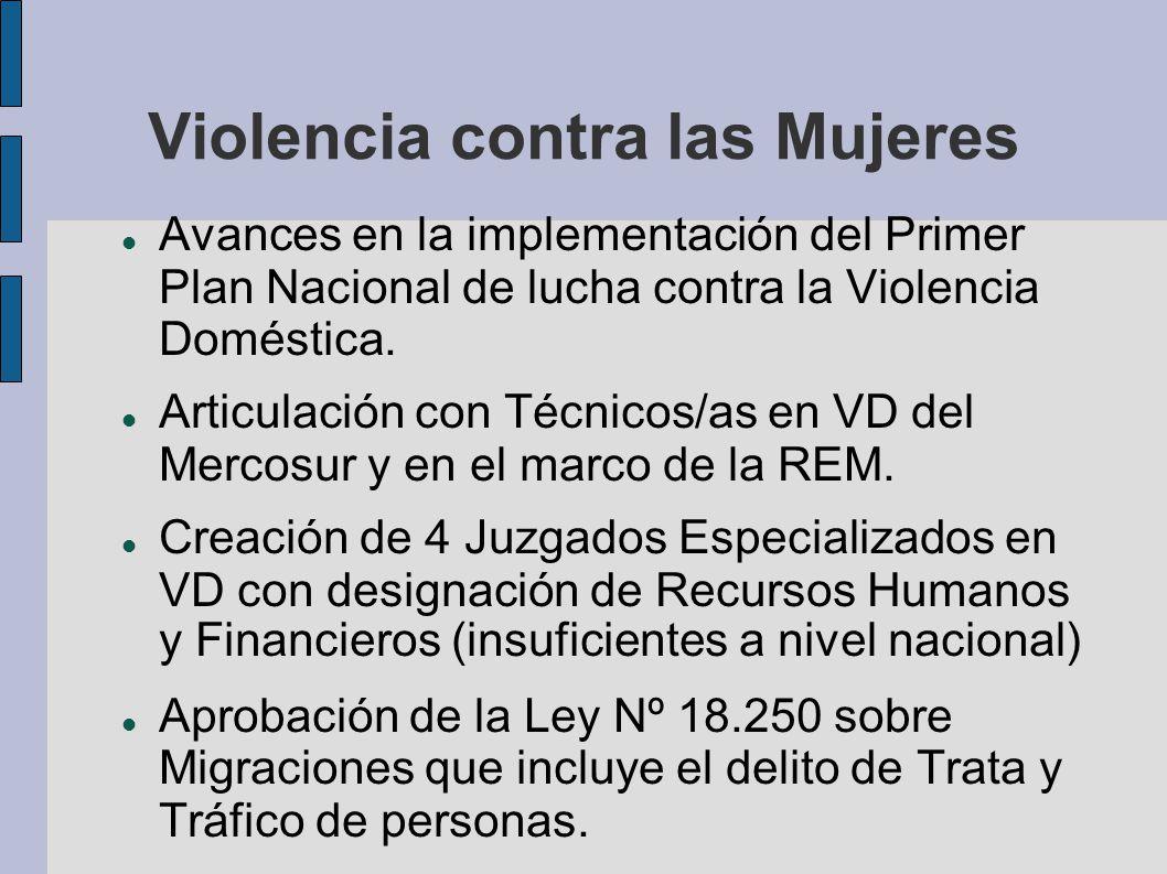 Violencia contra las Mujeres Avances en la implementación del Primer Plan Nacional de lucha contra la Violencia Doméstica. Articulación con Técnicos/a