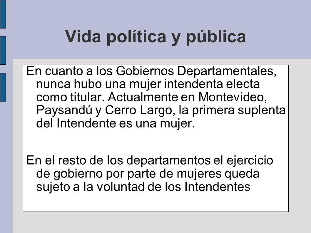 En cuanto a los Gobiernos Departamentales, nunca hubo una mujer intendenta electa como titular. Actualmente en Montevideo, Paysandú y Cerro Largo, la
