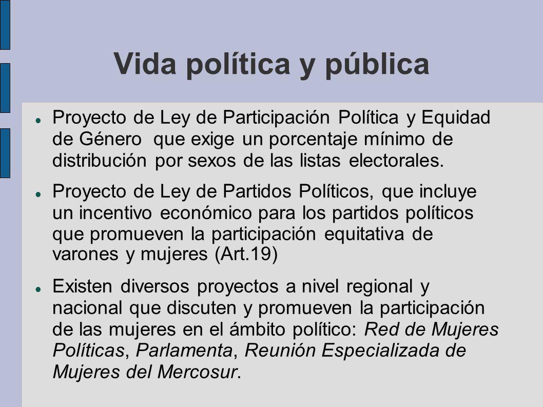 Vida política y pública Proyecto de Ley de Participación Política y Equidad de Género que exige un porcentaje mínimo de distribución por sexos de las