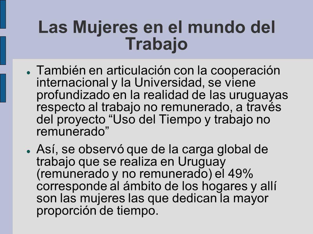Las Mujeres en el mundo del Trabajo También en articulación con la cooperación internacional y la Universidad, se viene profundizado en la realidad de
