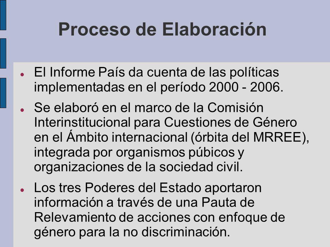 Proceso de Elaboración El Informe País da cuenta de las políticas implementadas en el período 2000 - 2006. Se elaboró en el marco de la Comisión Inter