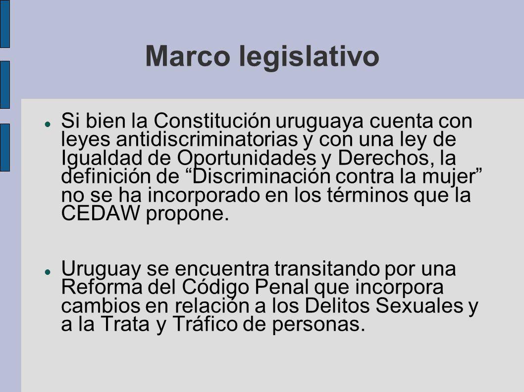 Marco legislativo Si bien la Constitución uruguaya cuenta con leyes antidiscriminatorias y con una ley de Igualdad de Oportunidades y Derechos, la def