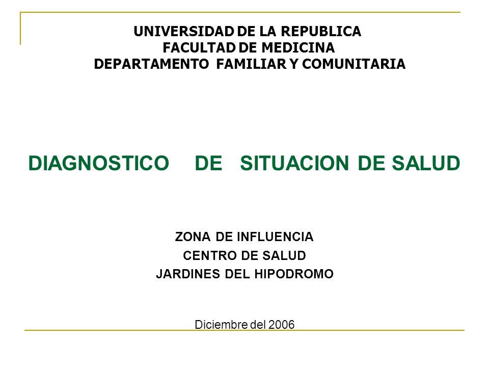 DIAGNOSTICO DE SITUACION DE SALUD ZONA DE INFLUENCIA CENTRO DE SALUD JARDINES DEL HIPODROMO Diciembre del 2006 UNIVERSIDAD DE LA REPUBLICA FACULTAD DE MEDICINA DEPARTAMENTO FAMILIAR Y COMUNITARIA