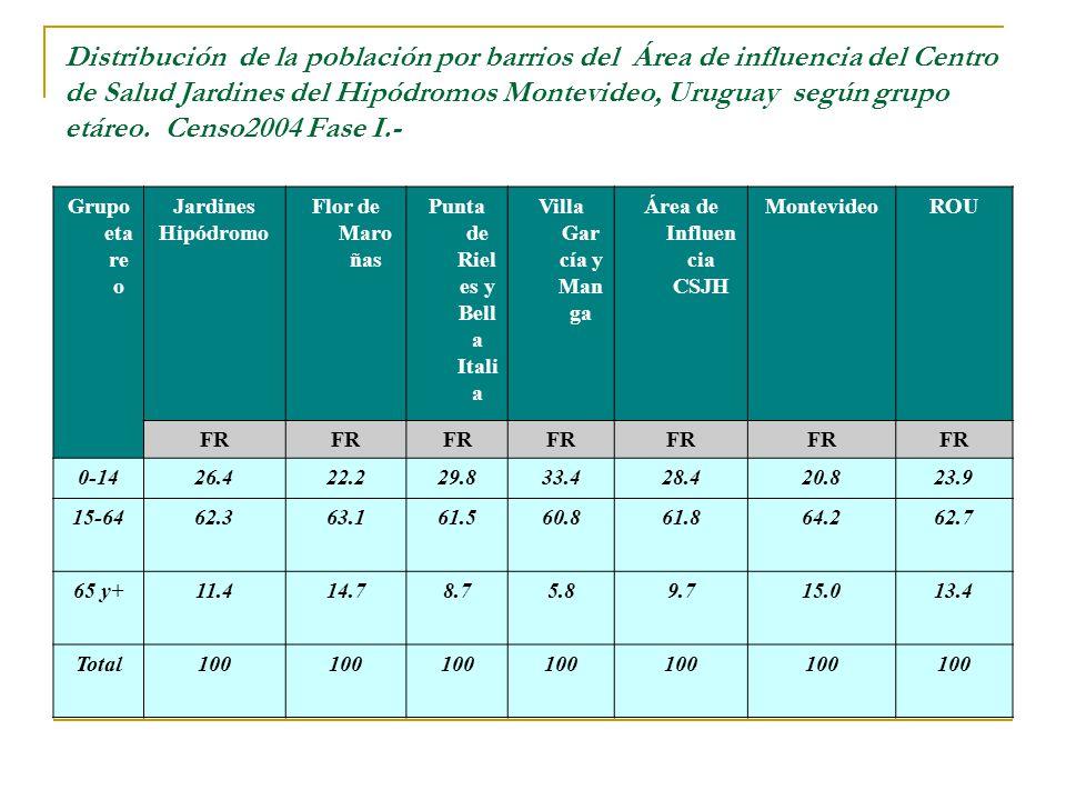 Distribución de la población por barrios del Área de influencia del Centro de Salud Jardines del Hipódromos Montevideo, Uruguay según grupo etáreo.