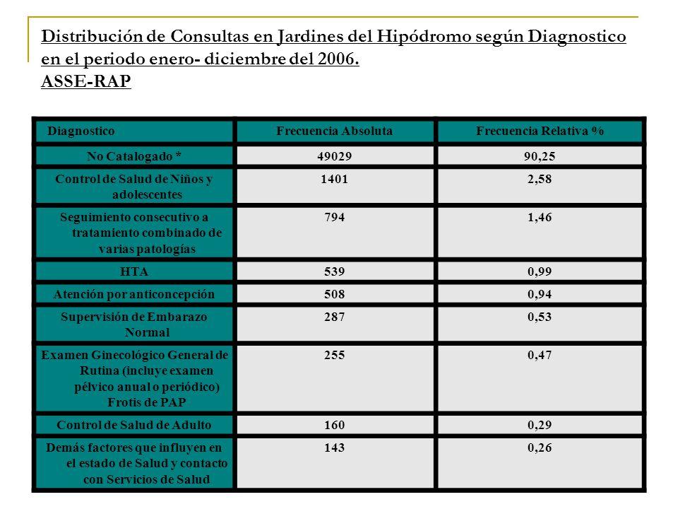Distribución de Consultas en Jardines del Hipódromo según Diagnostico en el periodo enero- diciembre del 2006. ASSE-RAP DiagnosticoFrecuencia Absoluta