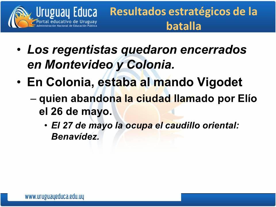 Resultados estratégicos de la batalla Los regentistas quedaron encerrados en Montevideo y Colonia. En Colonia, estaba al mando Vigodet –quien abandona