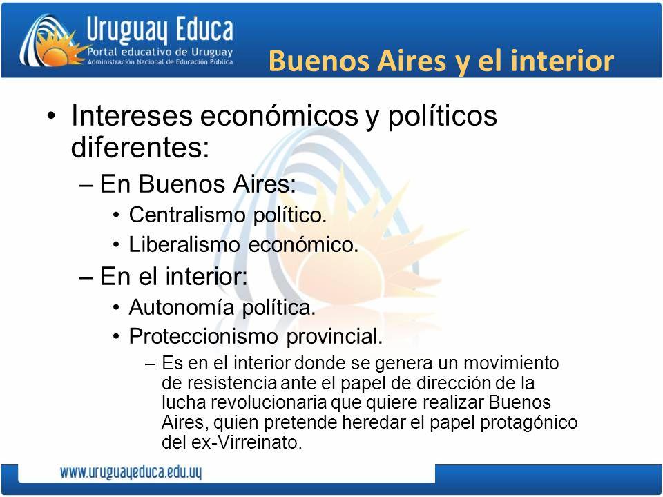 Buenos Aires y el interior Intereses económicos y políticos diferentes: –En Buenos Aires: Centralismo político. Liberalismo económico. –En el interior
