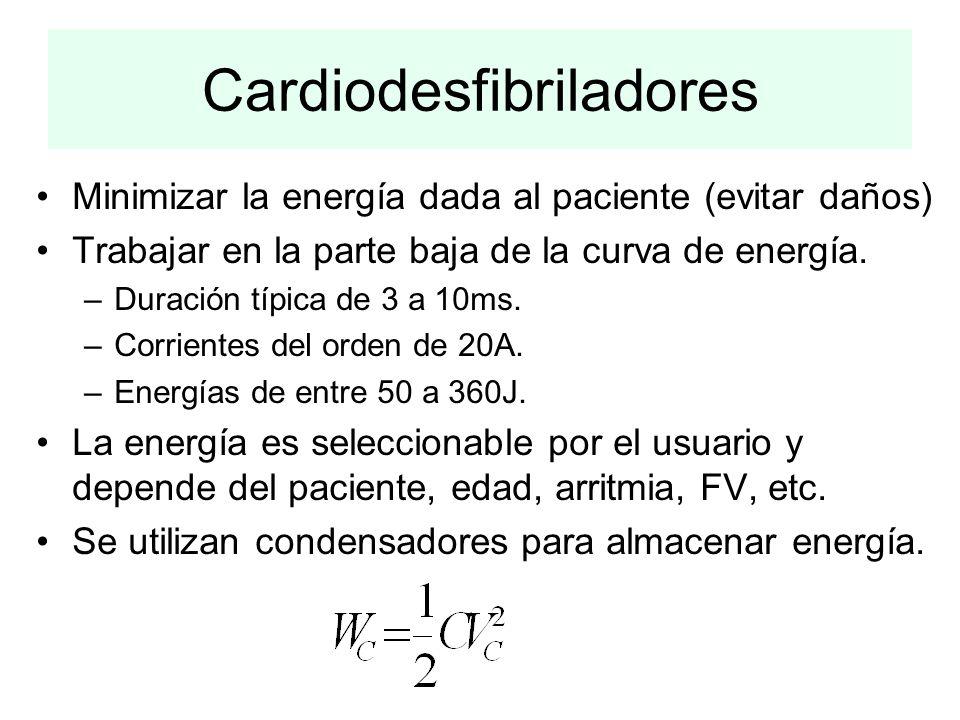 Cardiodesfibriladores Minimizar la energía dada al paciente (evitar daños) Trabajar en la parte baja de la curva de energía. –Duración típica de 3 a 1