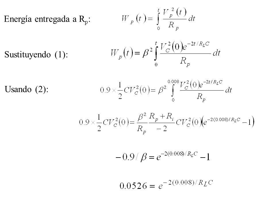 Energía entregada a R p : Sustituyendo (1): Usando (2):