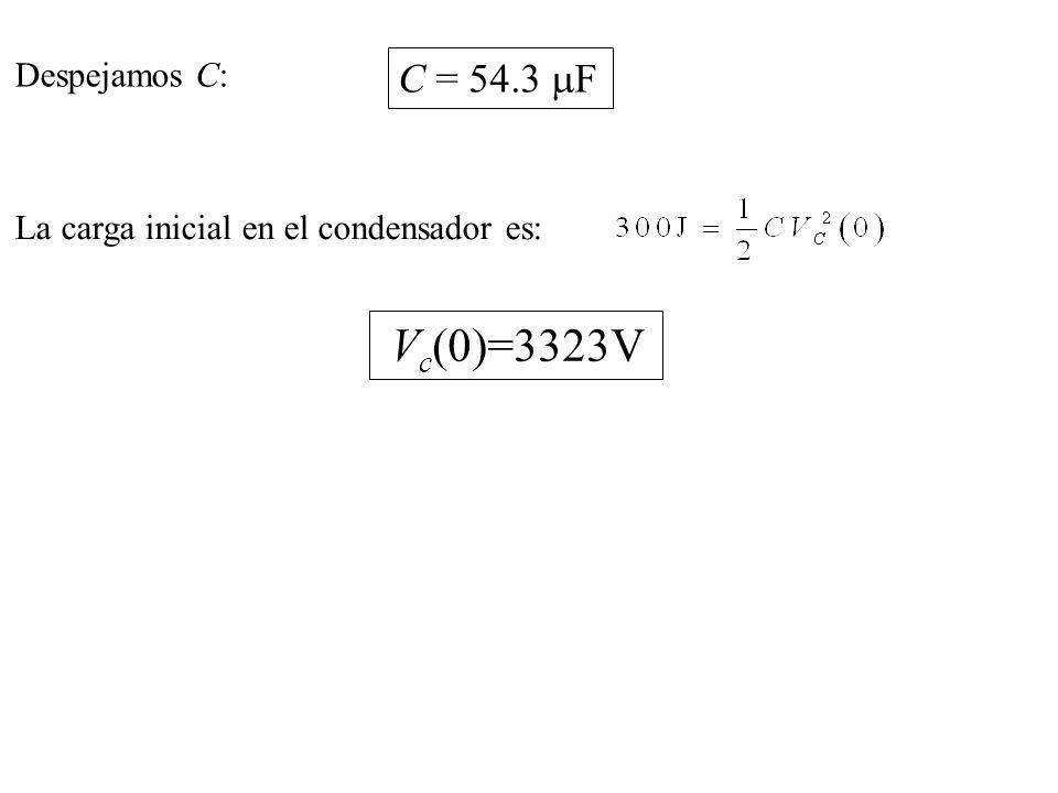 La carga inicial en el condensador es: V c (0)=3323V C = 54.3 F Despejamos C: