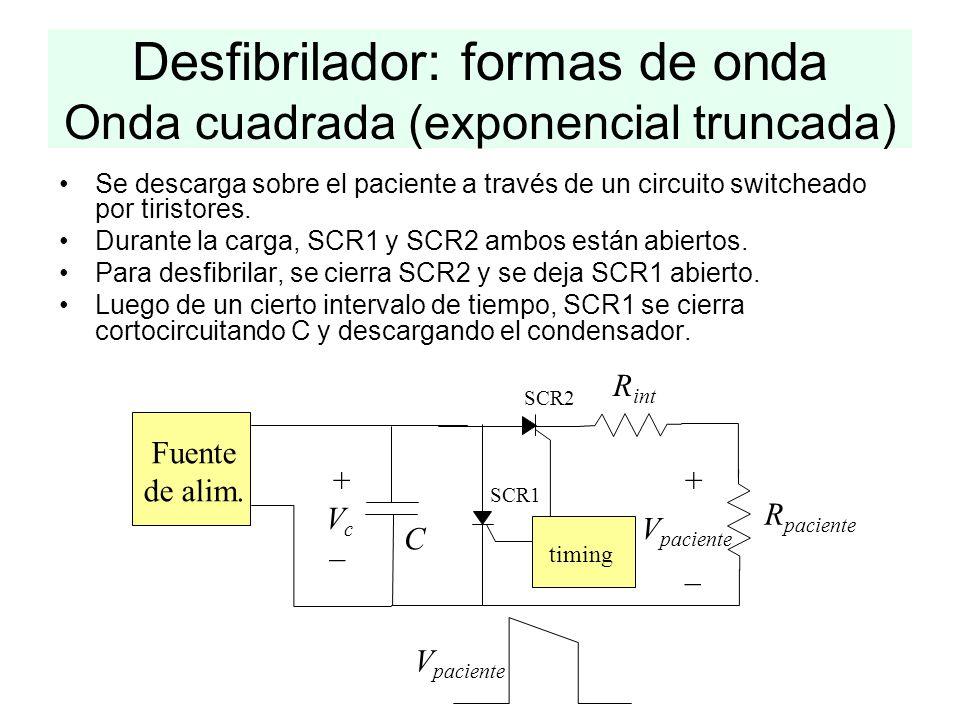 Desfibrilador: formas de onda Onda cuadrada (exponencial truncada) Fuente de alim. C R paciente VcVc + _ V paciente + _ R int timing SCR1 SCR2 V pacie