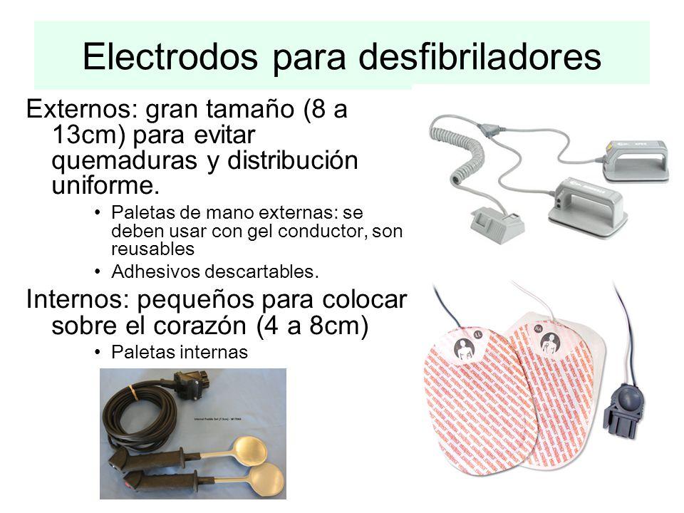Externos: gran tamaño (8 a 13cm) para evitar quemaduras y distribución uniforme. Paletas de mano externas: se deben usar con gel conductor, son reusab