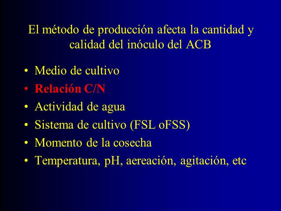 El método de producción afecta la cantidad y calidad del inóculo del ACB Medio de cultivo Relación C/N Actividad de agua Sistema de cultivo (FSL oFSS)