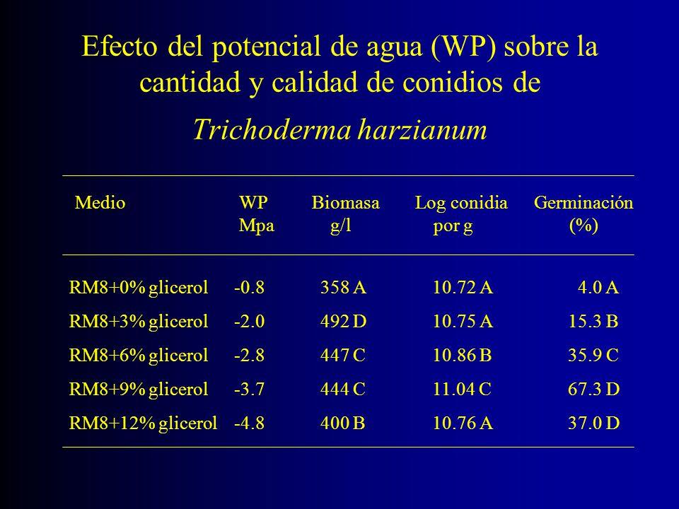 Efecto del potencial de agua (WP) sobre la cantidad y calidad de conidios de Trichoderma harzianum Medio WP Biomasa Log conidia Germinación Mpa g/l po