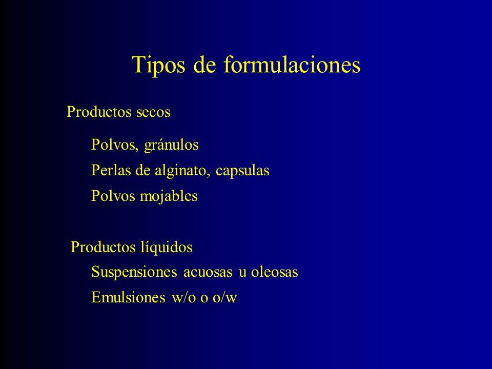 Tipos de formulaciones Productos secos Polvos, gránulos Perlas de alginato, capsulas Polvos mojables Productos líquidos Suspensiones acuosas u oleosas