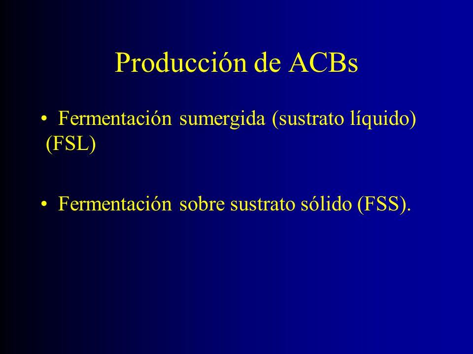 Producción de ACBs Fermentación sumergida (sustrato líquido) (FSL) Fermentación sobre sustrato sólido (FSS).