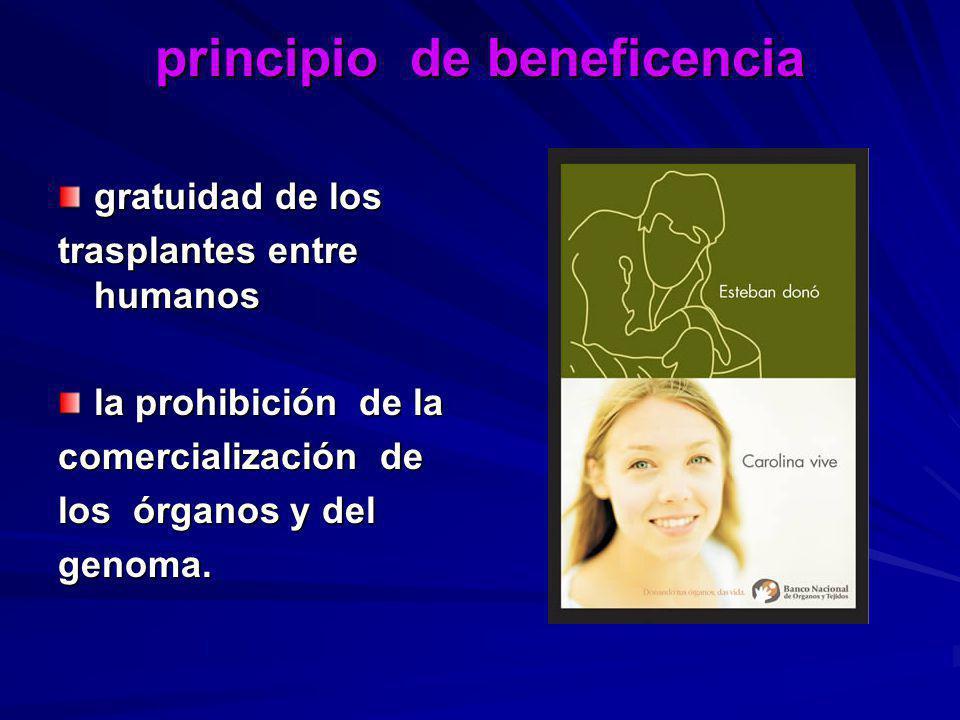 principio de beneficencia gratuidad de los trasplantes entre humanos la prohibición de la comercialización de los órganos y del genoma.