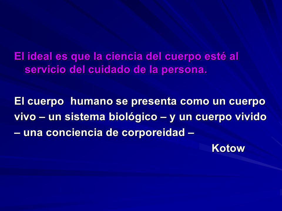 El ideal es que la ciencia del cuerpo esté al servicio del cuidado de la persona. El cuerpo humano se presenta como un cuerpo vivo – un sistema biológ