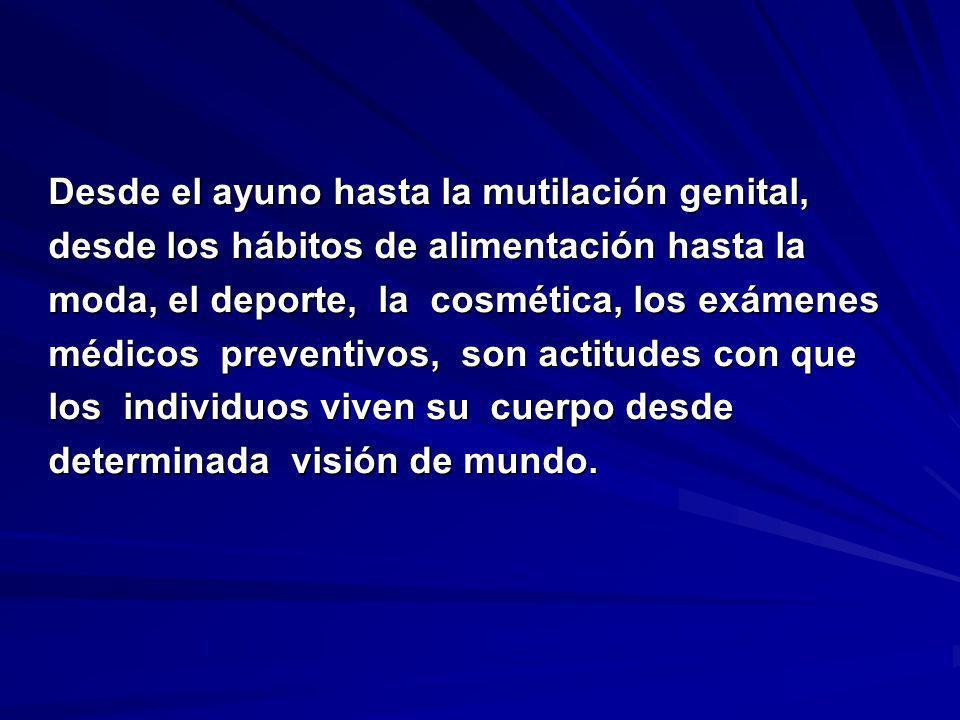 Desde el ayuno hasta la mutilación genital, desde los hábitos de alimentación hasta la moda, el deporte, la cosmética, los exámenes médicos preventivo